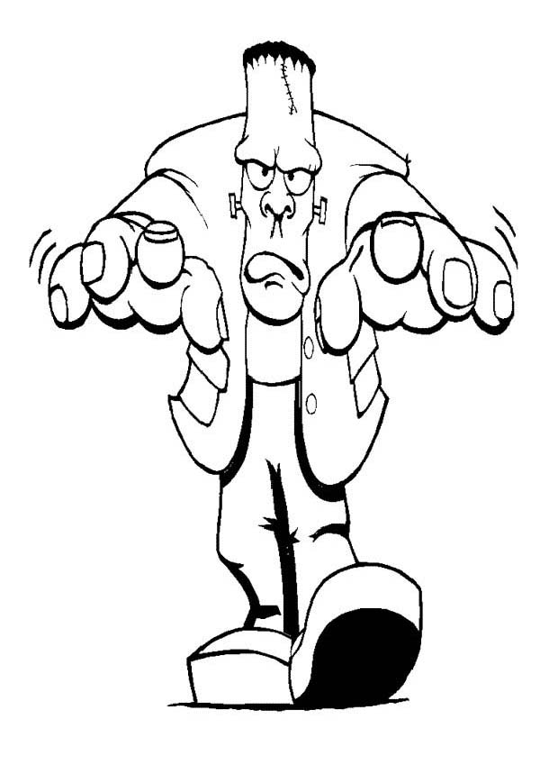 Furious Mr Frankenstein on Halloween Day Coloring Page Download