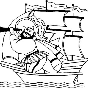 Happy Columbus Cartoon On Columbus Day Coloring Page