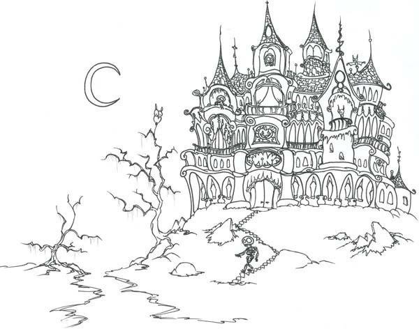 Haunted Castle on Halloween Day Coloring Page Download Print
