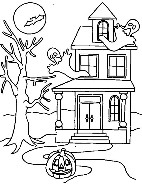 haunted house on halloween day coloring page - Halloween House Coloring Pages