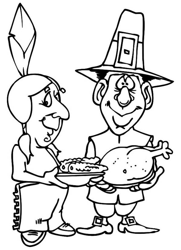 free coloring pages sharing | Sharing Food on Canada Thanksgiving Day Celebration ...
