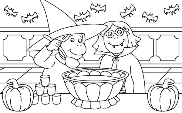 Two Childrens Dress Up for Halloween Day Costume Coloring Page ...