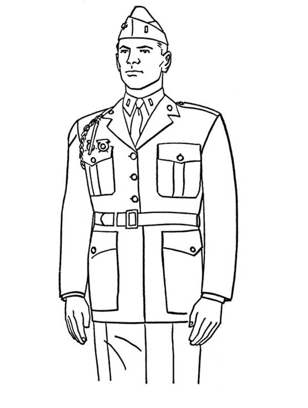 A Steady Marine Officer Celebrating Veterans Day Coloring Page