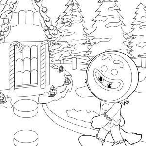 A Wolf with Mask Disguised as Mr Gingerbread Men on Christmas Coloring Page