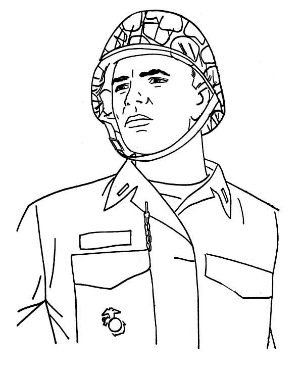 a young soldier in combat helmet celebrating veterans day coloring page - Soldier Coloring Pages