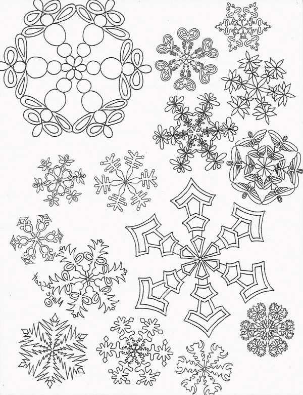 all christmas snowflakes picture coloring page - Christmas Snowflake Coloring Pages