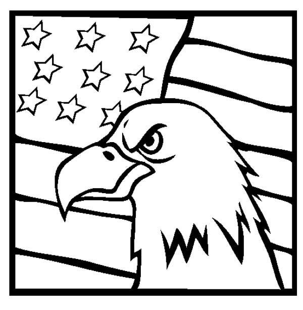 American Eagle and US Flag Celebrating Veterans Day Coloring Page ...