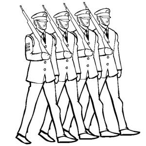 Celebrating Veterans Day by Marching in Uniform Coloring Page