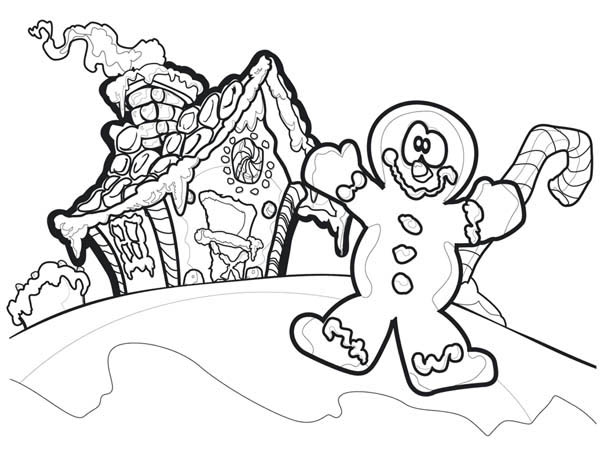 Christmas Clown and Gingerbread House Coloring Page - Download ...