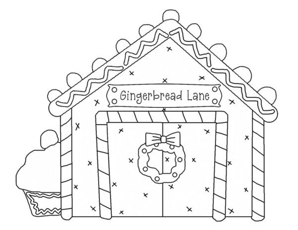 Christmas gingerbread house and lovely cupcake coloring for Gingerbread house coloring pages