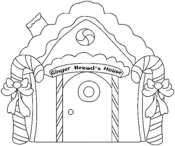 Christmas, Christmas Gingerbread House And Two Sweet Candy Cane Coloring  Page: Christmas Gingerbread House