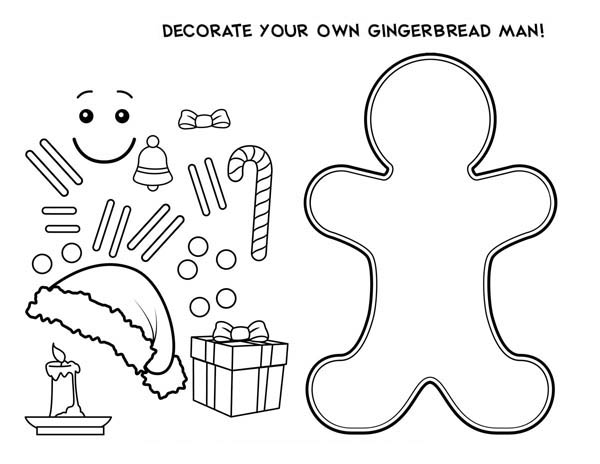 decorate your own mr gingerbread men for christmas coloring page - Gingerbread Man Color Page