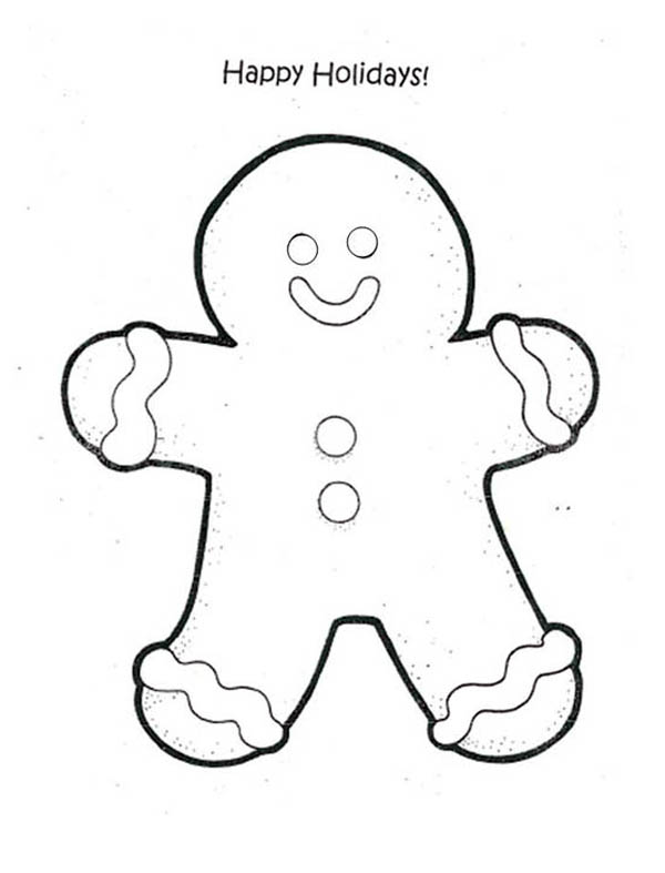 christmas happy holidays say mr gingerbread men on christmas coloring page