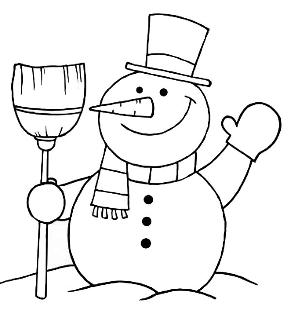 christmas mr snowman on christmas greetings everyone coloring page - Snowman Coloring Pages