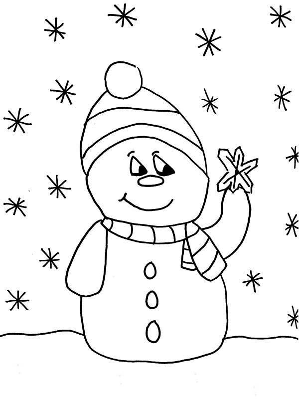 Mr Snowman on Christmas Touching a Snowflake Coloring Page