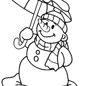 Mr Snowman on Christmas with Umbrella Coloring Page