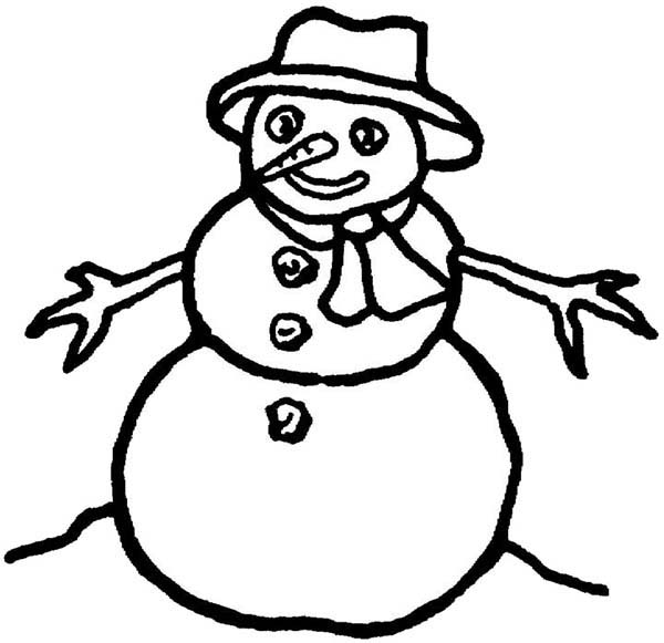 Picture Of Mr Snowman On Christmas Coloring Page