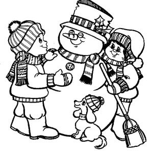 two childrens and their dog make a mr snowman for christmas coloring page