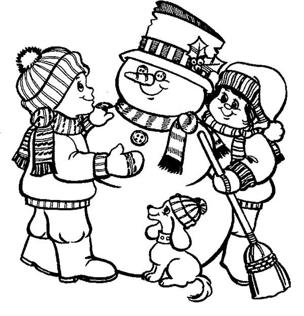 christmas two childrens and their dog make a mr snowman for christmas coloring page - Make Coloring Pages