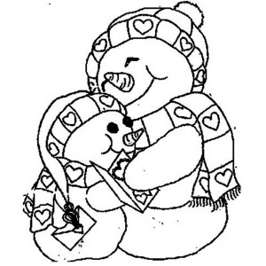 Two Mr Snowman on Christmas Holding Each Other Coloring Page