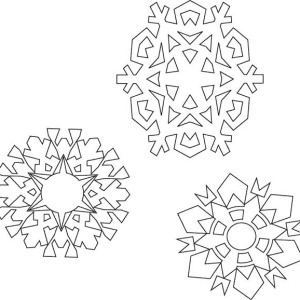 Various Type of Christmas Snowflakes Coloring Page