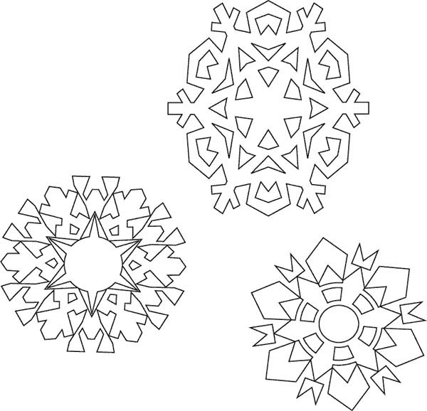 christmas various type of christmas snowflakes coloring page