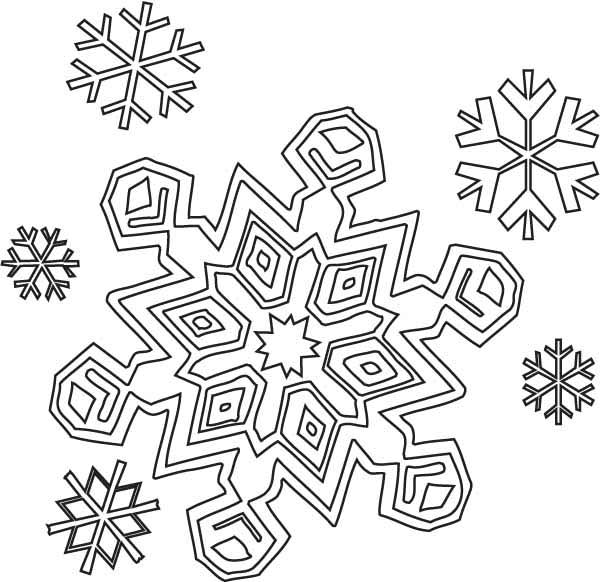 Winter Season Christmas Snowflakes Coloring Page