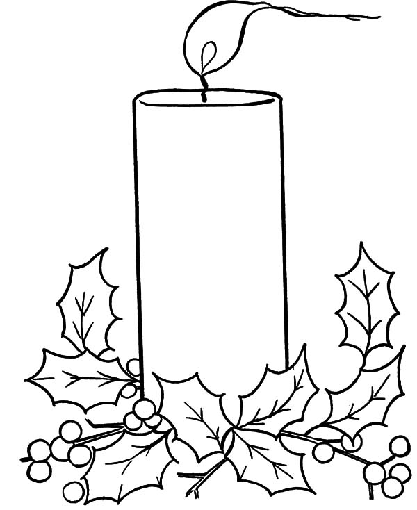 Christmas Candle Blowing by the Wind Coloring Pages Download