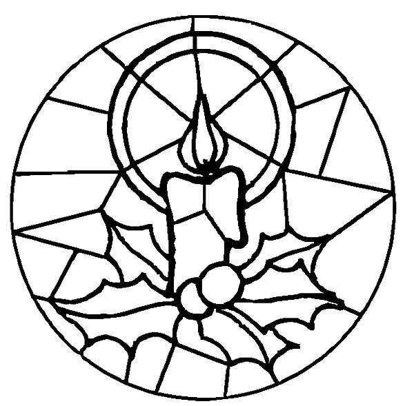Christmas candle glass art at church coloring pages for Christmas stained glass coloring page
