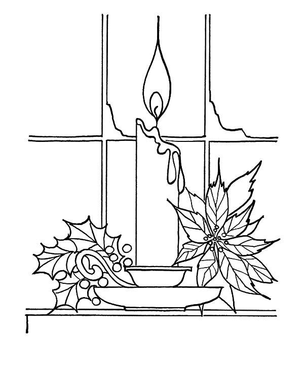 Christmas candle near window coloring pages christmas for Christmas candle coloring page