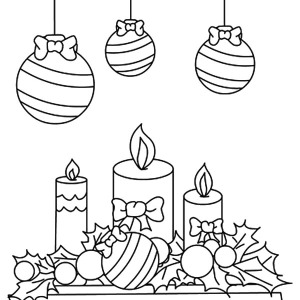 Christmas Candle Under Mistletoe Coloring Pages