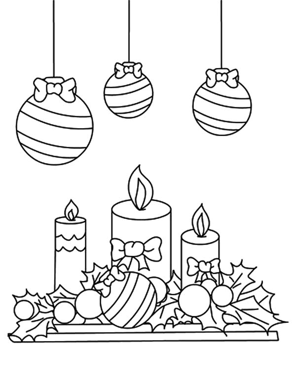 Christmas Candle Under Mistletoe Coloring Pages Download Print