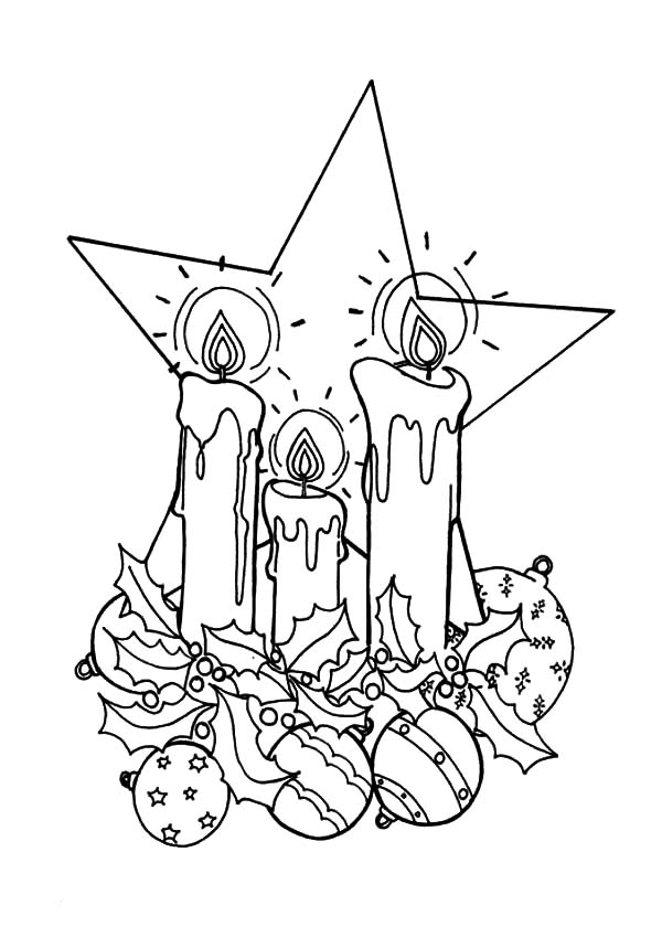 Christmas Candle And A Big Star Coloring Pages