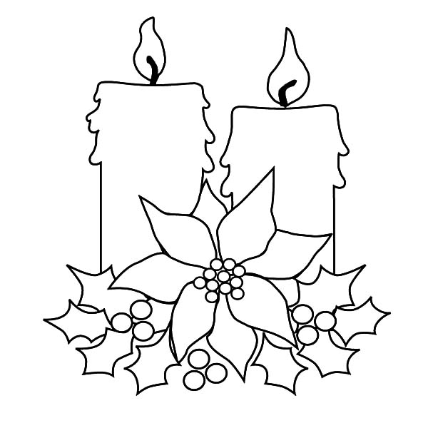 Christmas Candle For Decorating Tree Coloring Pages