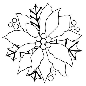 Christmas Wreaths with Poinsettia Flower Coloring Page