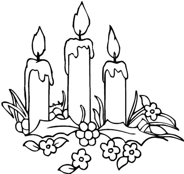 Decorating Christmas Candle Coloring Pages Download Print Online