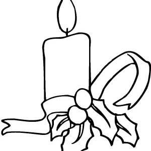 Simple Decoration of Christmas Candle Coloring Pages