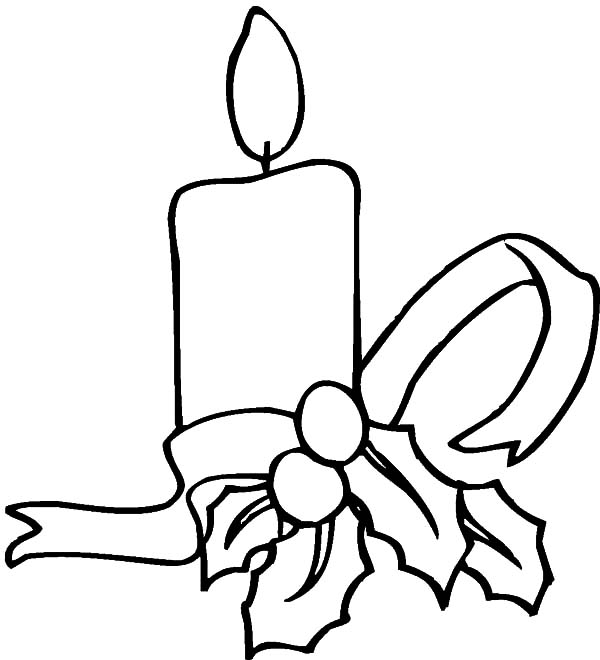 Simple Decoration Of Christmas Candle Coloring Pages  Download