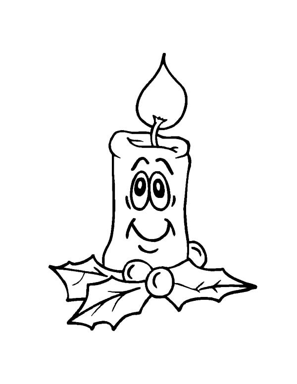 Smiling Christmas Candle Coloring Pages - Download & Print Online ...