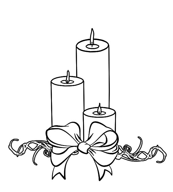 Three Christmas Candle Wrapped with Bow Coloring Pages Three
