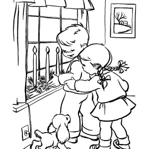 Two Kids Light Christmas Candle in Their House Coloring Pages