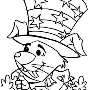A Mouse Celebrating Independence Day Coloring Page