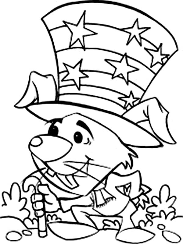 A Mouse Celebrating Independence Day Coloring Page ...