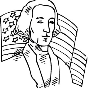 American Flag Behind US 1st President for Independence Day Coloring Pages