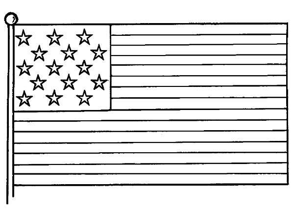 American Flag Picture for Independence Day Coloring Pages