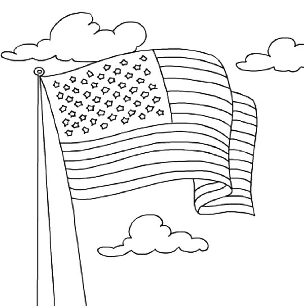 American Flag Waving for Independence Day Coloring Pages ...