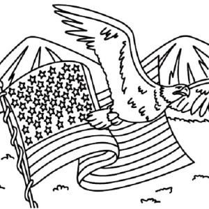 American Flag and American Eagle for Independence Day Coloring Pages