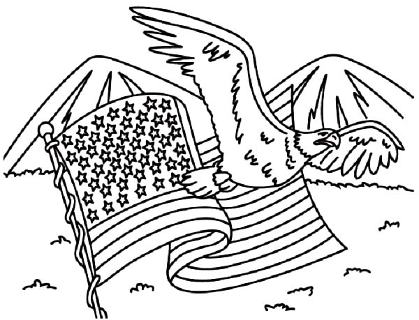 coloring pages eagle with flag - photo#10