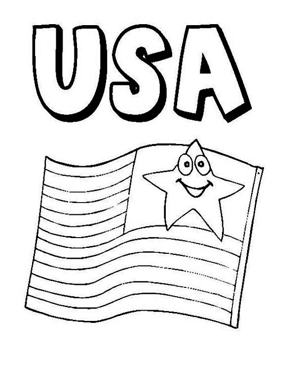 American Flag on Independence Day Coloring Page  Download  Print