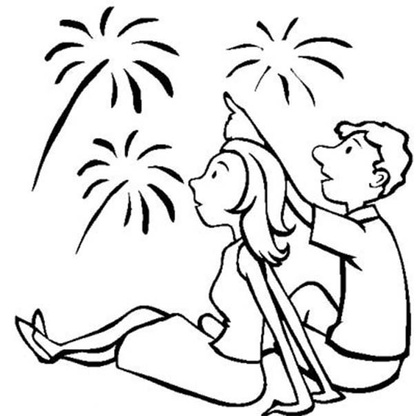 Beautiful Fireworks on Independence Day Coloring Page - Download ...